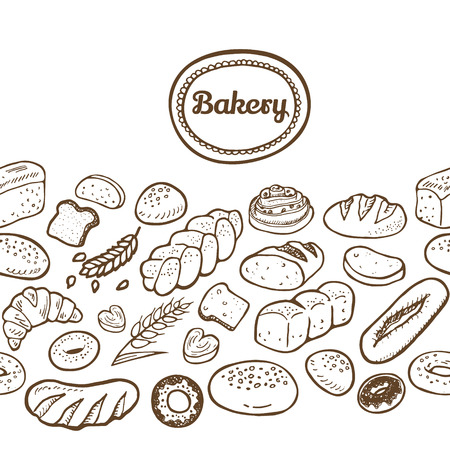 bakery products: Hand drawn seamless bakery border.  Vector EPS. Illustration