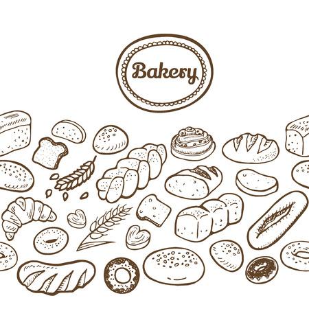 Hand drawn seamless bakery border.  Vector EPS. Çizim