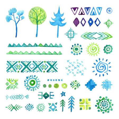 indian paint brush: Hand drawn elements set for ethnic pattern,  tribal vector seamless background.