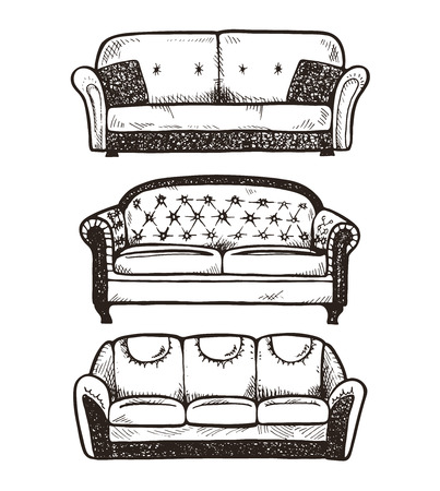 Conjunto de sofás dibujadas a mano, ilustración vectorial.