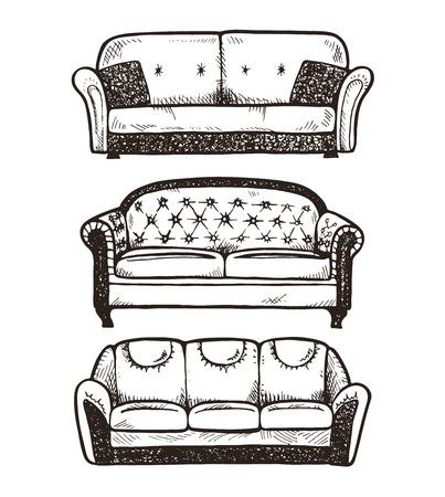 white sofa: Set of hand drawn sofas, vector illustration.