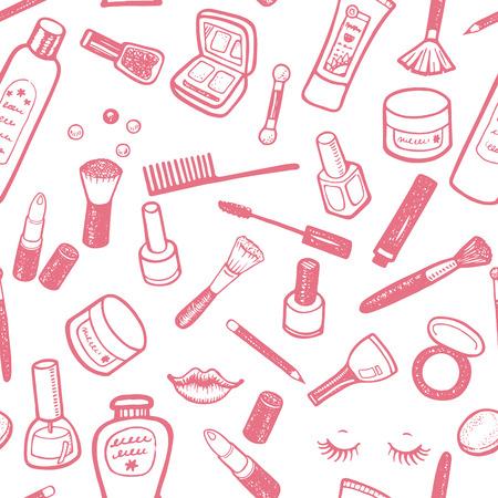 手描きの美しさと化粧品のアイテムを設定します。あなたのデザインのベクトルの背景。