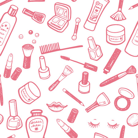make up: Hand drawn beauty and cosmetics items set. Vector background for your design. Illustration