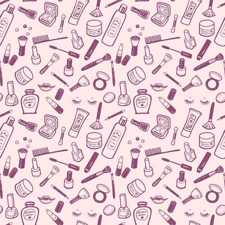 Bellezza e Cosmesi articoli disegnate a mano impostate. Vector sfondo per il vostro disegno.