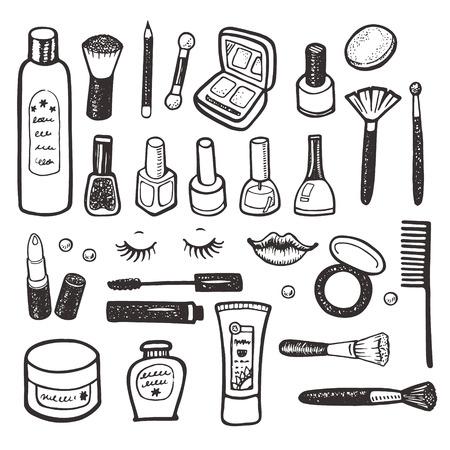 make up: Collection de maquillage et cosm�tiques illustration dessin�e � la main