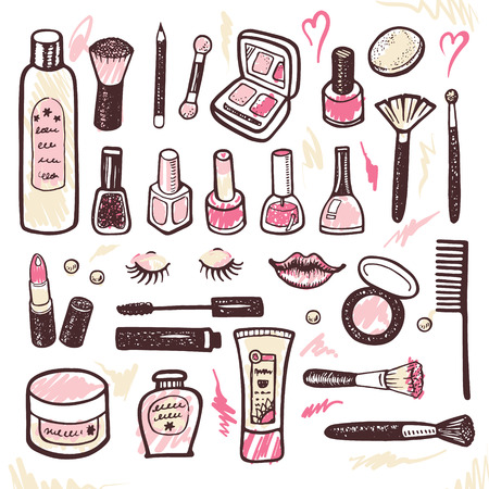 Hand drawn collection of make up and cosmetics illustration