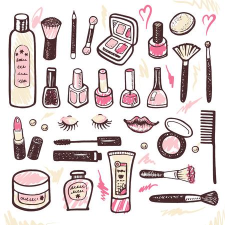 maquillage: Collection de maquillage et cosm�tiques illustration dessin�e � la main