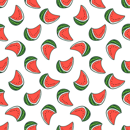 Seamless background with hand drawn watermelon.