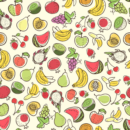 siluette: Creative seamless pattern with hand drawn fruits. Perfect for packaging, wrapping paper design.