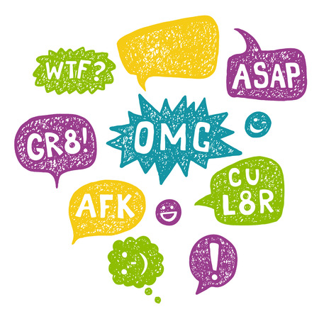 Hand drawn Speech Bubble Acronyms Set. Intetnet and chat  abbreviations