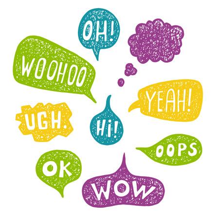 yeah: Hand drawn Speech Bubble Emotions Set.