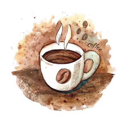 taza cafe: Mano acuarela dibujada taza de café ilustración Vectores