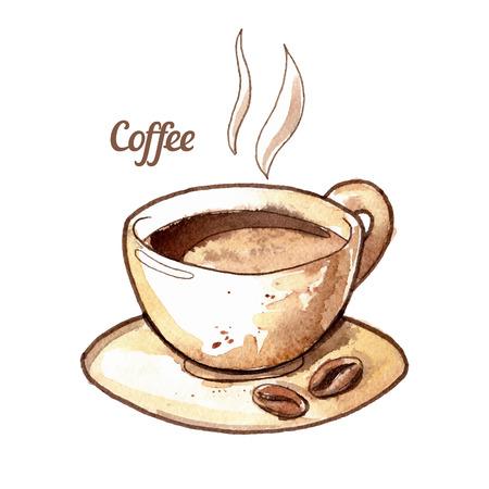 Main aquarelle dessinée tasse de café illustration