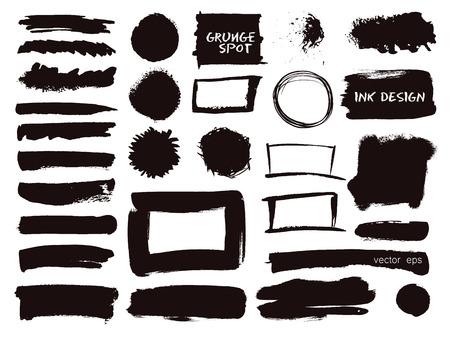 グランジ水彩ブラシ ストロークのベクターを設定します。 手には、ペイント ブラシ ストロークが描画されます。白い背景に分離された黒いベクター オイル ペイント ブラシ ストロークのブラック コレクション。 写真素材 - 42280452