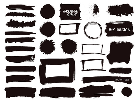Vector set of grunge watercolor brush strokes.  Hand drawn paint brush strokes. Black collection of black vector oil paint brush strokes isolated on white background.