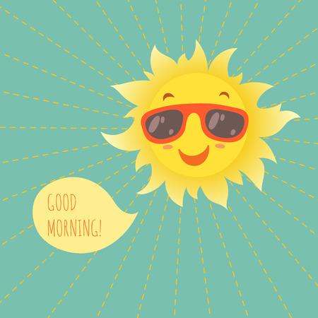carita feliz caricatura: Feliz sonriente sol de verano en gafas. Ilustración del vector. Vectores