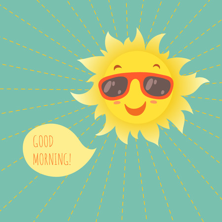 smiley face cartoon: Happy smiling summer sun in glasses. Vector illustration.