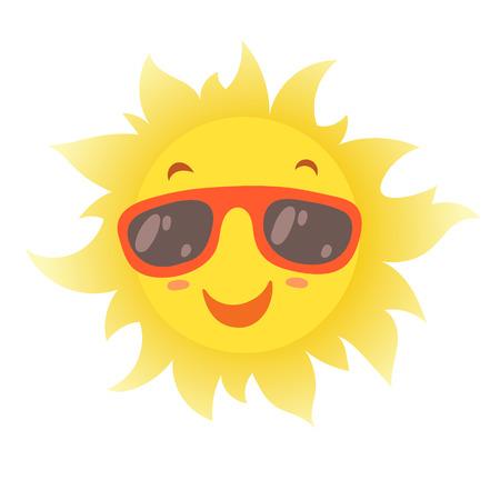 Happy smiling summer sun in glasses. Vector illustration.