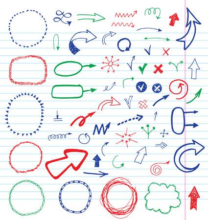 Hand gezeichnet Pfeile und Rahmen Set. Standard-Bild - 42280469