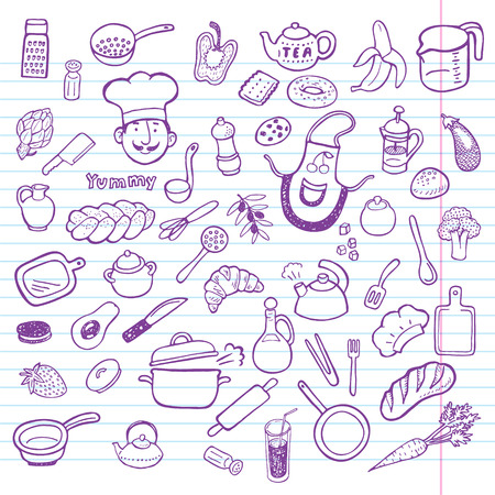 kitchen tools: Hand drawn cooking and kitchen set.