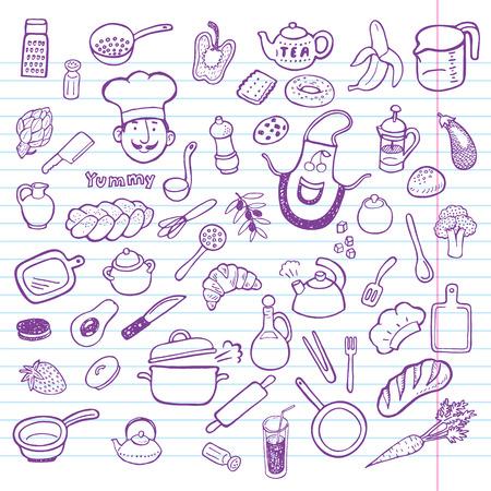 ustensiles de cuisine: Main dessinée et la cuisine jeu de cuisine.