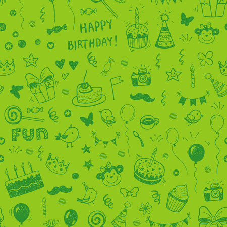baloons: Happy birthday seamless hand drawn background pattern in vector