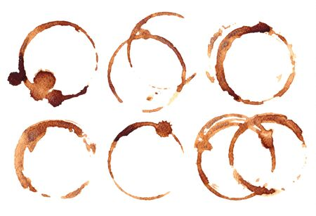 ?offee stains on white. Vector illustration.
