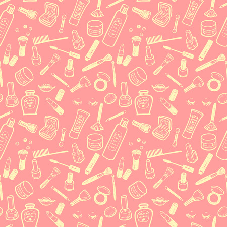 Hand drawn beauty and cosmetics items set. Vector background for your design. 向量圖像