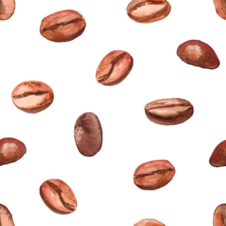 Hand drawn watercolor coffee seamless background.