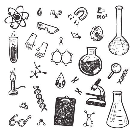 Dibujado a mano conjunto Química. Foto de archivo - 42280521