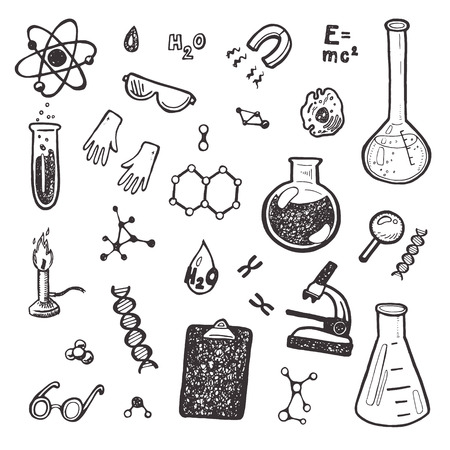 Hand Drawn Chemie-Set. Standard-Bild - 42280521