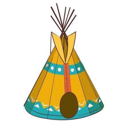 tepee: cartoon indians tepee vector isolated on white background