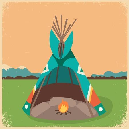 dwelling: illustration of a wigwam (american indian wigwam, indian indians tepee) Illustration
