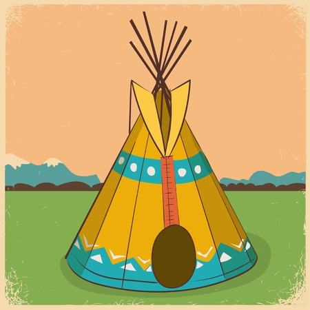 tepee: illustration of a wigwam (american indian wigwam, indian indians tepee) Illustration