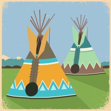 indios americanos: ilustración de una tienda india (americana tienda india indio, indio indios tipi)