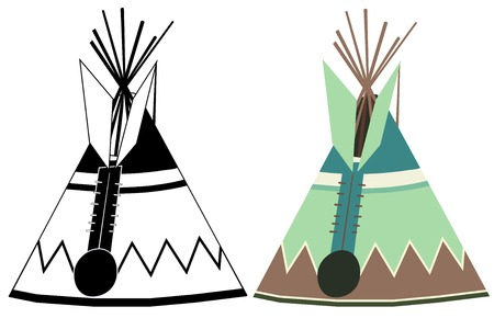 tepee: illustration of a wigwam (american indian wigwam, indian indians tepee)  isolated on white background