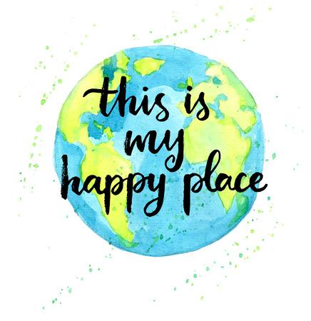 cotizacion: Este es mi lugar feliz. Cita de las letras de la mano en un vector de fondo creativo