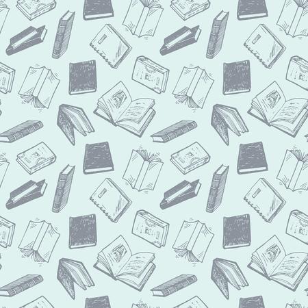 libro: Patrón sin fisuras con los libros dibujados a mano.