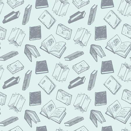 books: Seamless pattern with hand drawn books.