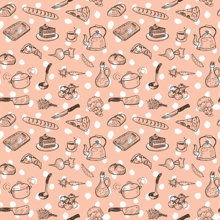 freehand: Hand drawn cooking doodle set texture Illustration