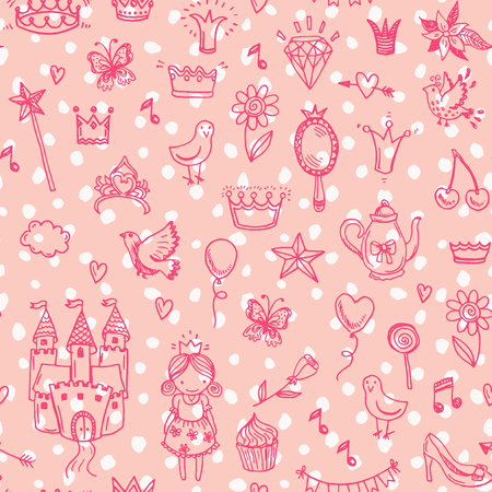 castillos de princesas: Vectores dibujados a mano patrón de la princesa perfecta.