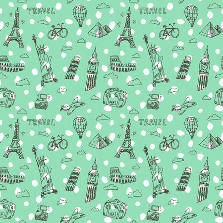 landmark: Hand drawn doodles pattern with world famous landmarks.
