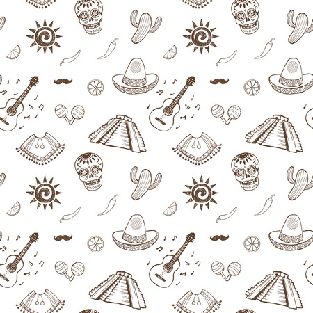 maracas: Mexican sketch set. Seamless pattern.