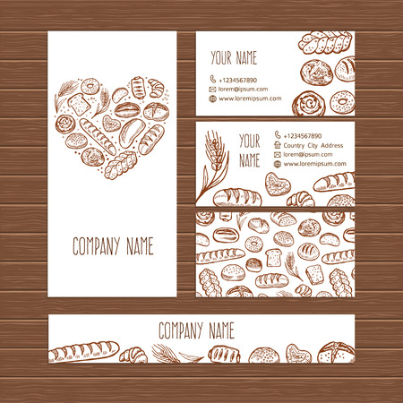 Vector bakery business set template with doodle hand drawn bread pastries illustrations.