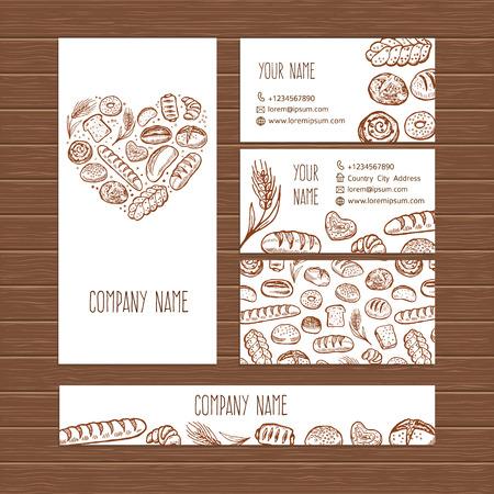 Vector bakkerij zaken set sjabloon met doodle handgetekende brood gebak illustraties.