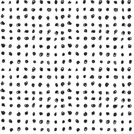 손으로 그린 흑백 낙서 패턴 서클. 추상적 인 벡터 배경