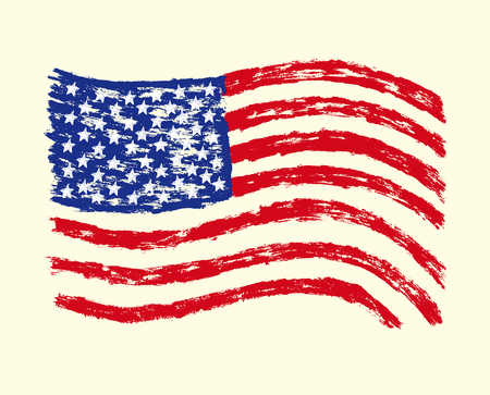 손으로 그려진 된 미국 국기입니다. 일러스트