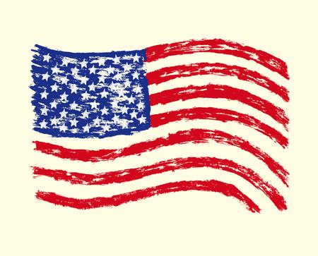 grunge flag Hand drawn USA.