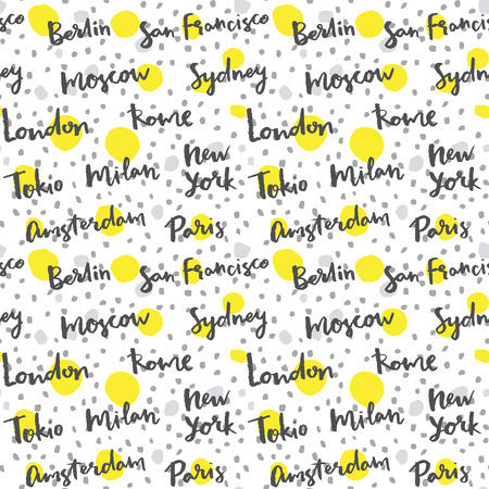 famous cities: Famous cities with handmade calligraphy, fashion background Illustration