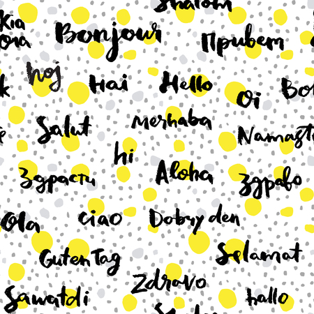 say hello: Seamless vector pattern,  calligraphic Hello word in different languages